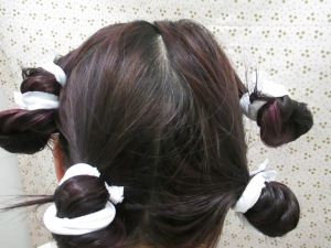 Not a pretty hairstyle at all!  But do at at night when no one is looking!  I made my own scrunchies!