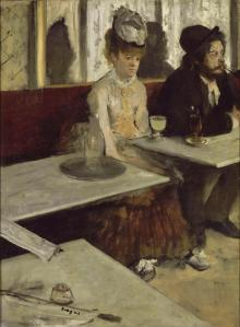 The depressing qualities on life in general.  Degas paints it in a disconnected way with the clutter of zig-zaging bar tables.  The sadness of drink.