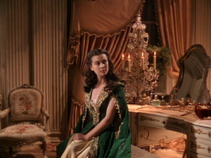 One of my favourite outfits in the film. A green velvet house coat with gold embellishments. When I lounge around my place, I don't look like this!!