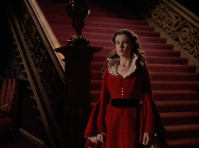 This is her famous red dress that gets her in trouble with Rhett. A bit Christmassy for me, but still loving it with the loose flowing hair curls.