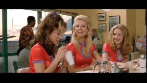A great scene from the movie with her gal pals as they try to get out of their small town beginnings...