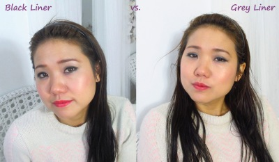 So the left photo is black liner and the right photo is grey liner.  All other make-ups are the same.  Can you spot the difference?